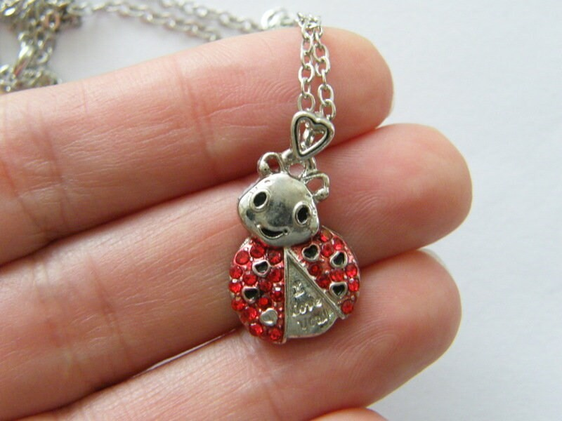 1 Ladybug rhinestone pendant  silver tone A519