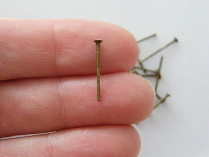 200 Head pins 16mm antique bronze tone FS300