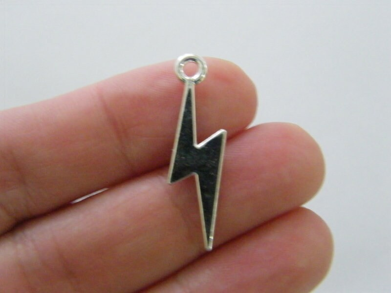 8 Lightning bolt charms silver plated tone S100
