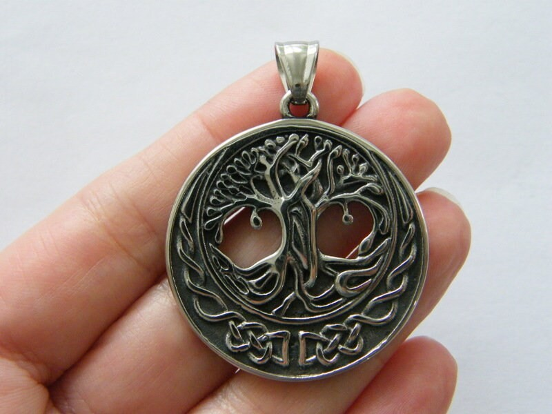 1 Tree celtic knot pendant antique silver tone stainless steel R6