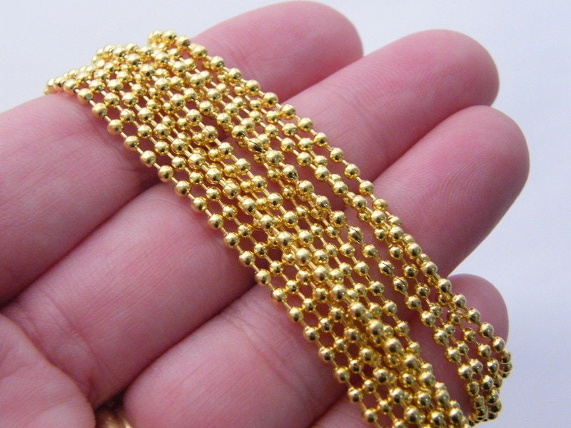BULK 12 Necklace  ball chain 80cm gold tone  FS298