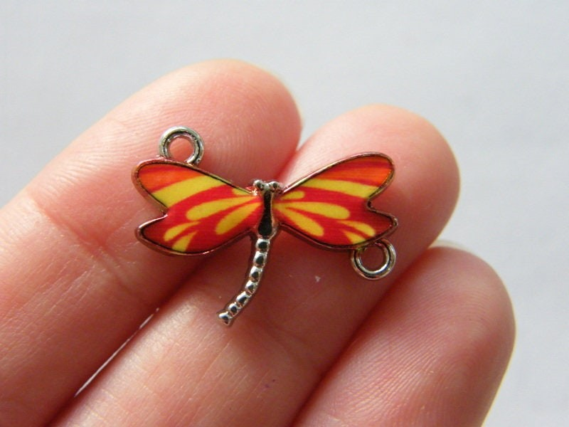 4 Dragonfly connector red yellow orange charms silver tone A367