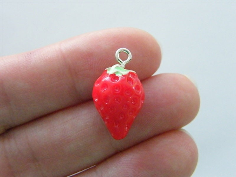 4 Strawberry charms resin FD341