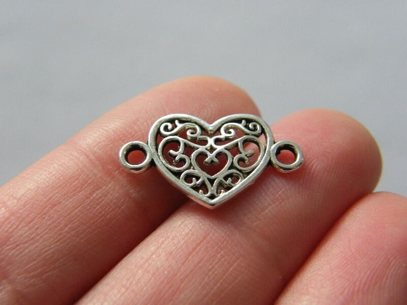 12 Heart connector charms antique silver tone H247