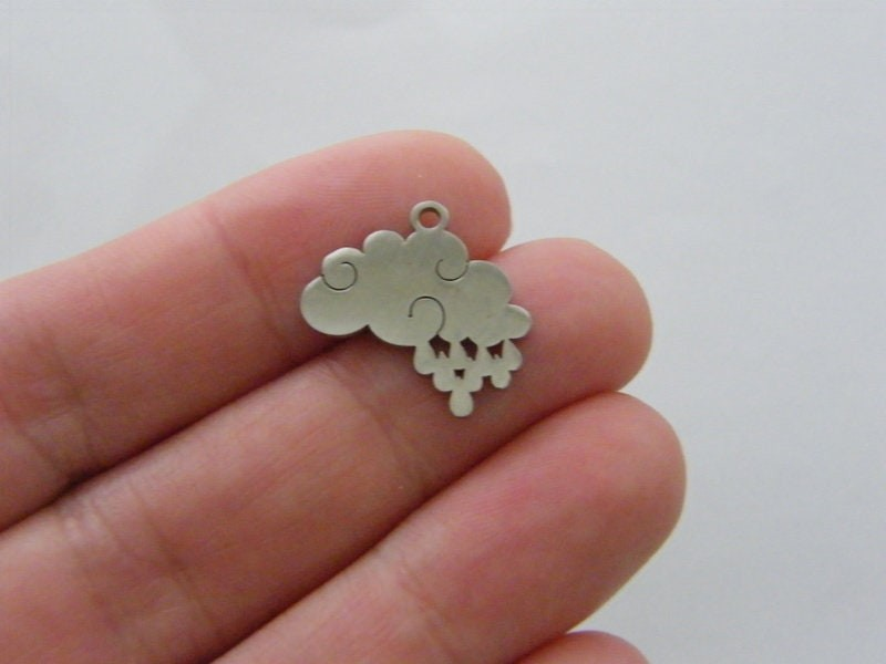 2 Rain cloud charms silver tone stainless steel S170