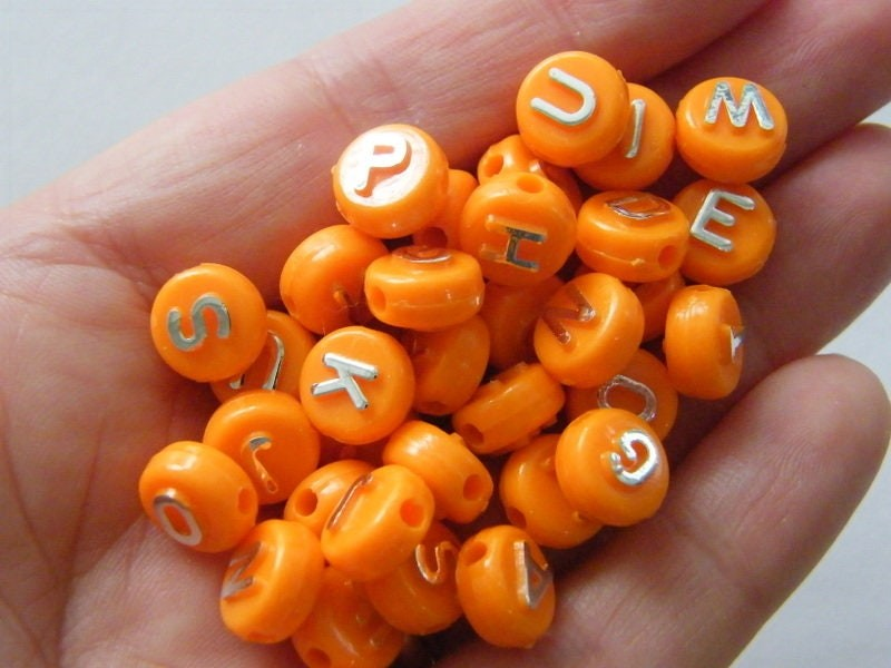 100 Acrylic alphabet 10mm letter orange and silver RANDOM beads BB464