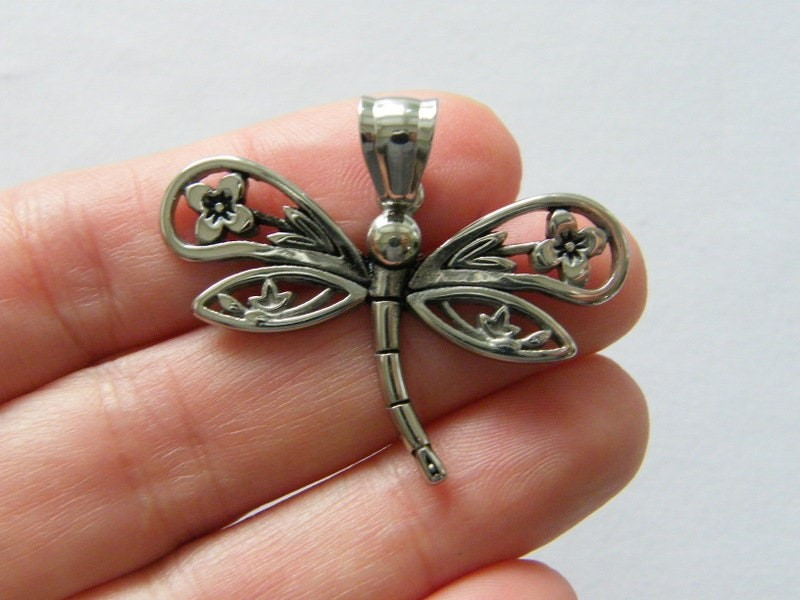 1  Dragonfly pendant antique  silver tone stainless steel A1121