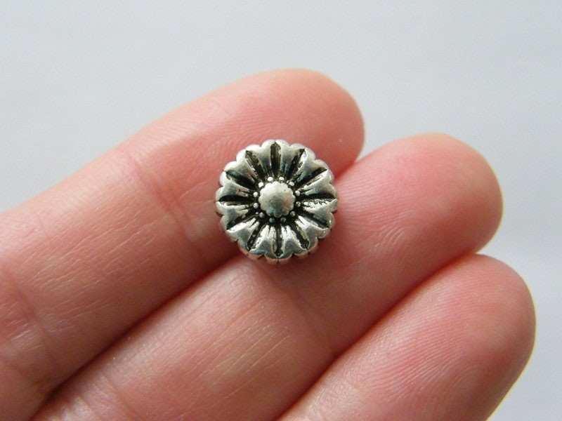 10 Flower spacer beads antique silver tone F324