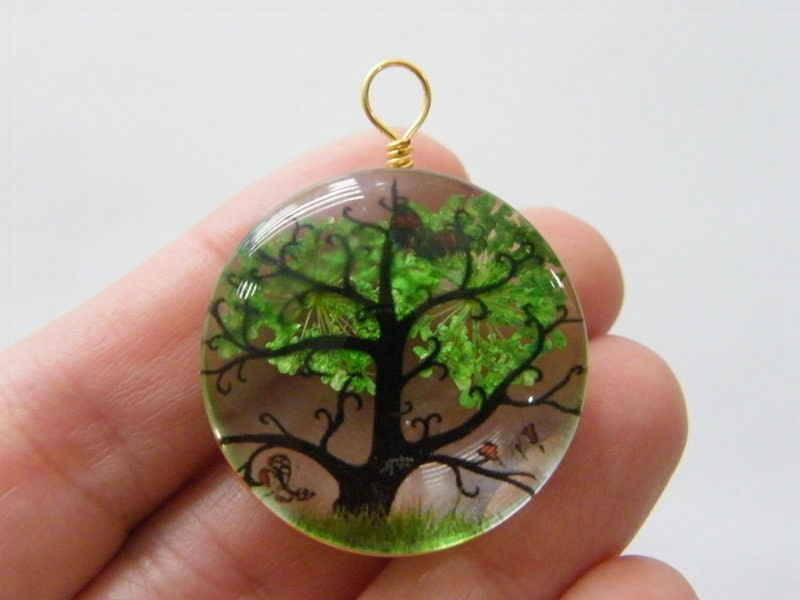 1 Tree scenery glass pendant gold  tone T34