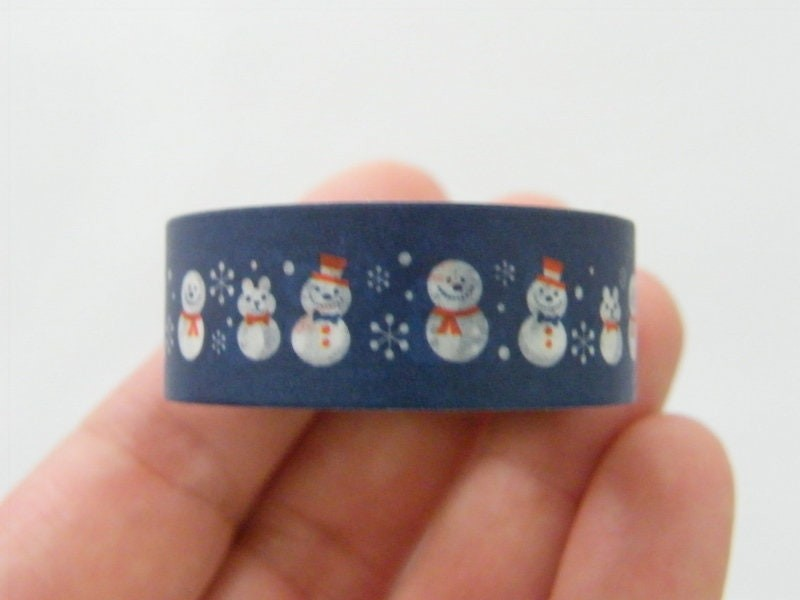 1 Blue snowman Christmas washi tape ST1