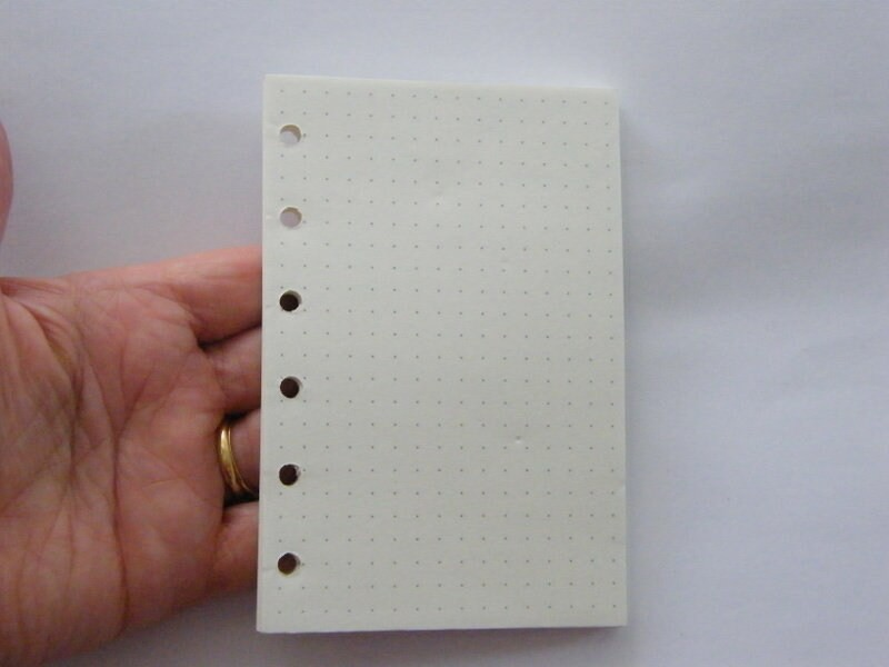 60 Sheets off white dot paper file folder spiral binder refill 6 holes Size A7