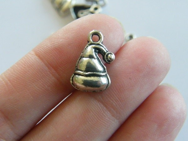 14 Christmas hat charms antique silver tone CT72