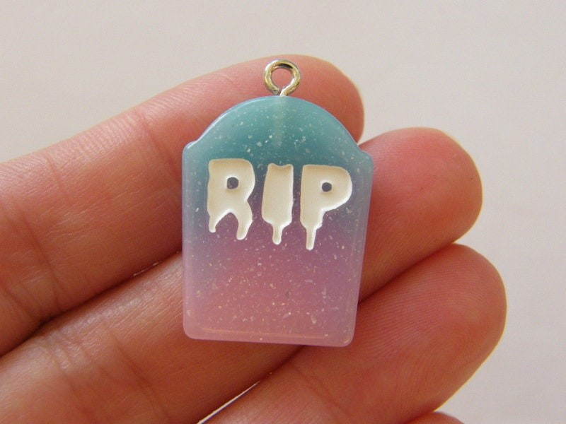 3 RIP gravestone  blue purple pink white charms HC184
