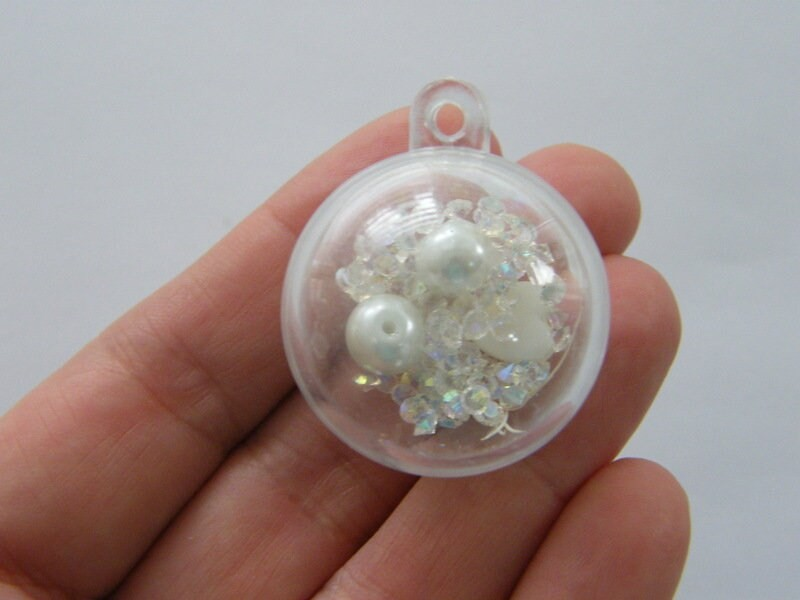 2 White can open plastic pendants