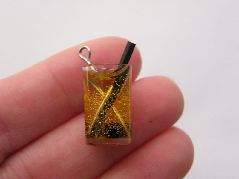 3 Gold bubble tea cocktail glass  black straw charms resin FD135