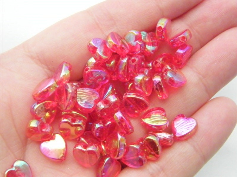 100 Heart beads red AB acrylic AB69