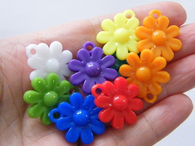 20 Flower charms random mixed acrylic F343