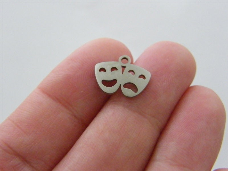 2 Mask tragedy comedy charms silver tone stainless steel P67