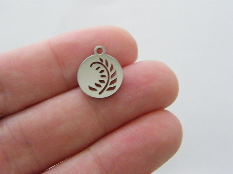 2 Leaf cut out pendant silver tone stainless steel L235