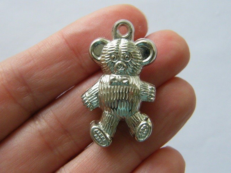 8 Teddy bear pendants CCB plastic P416