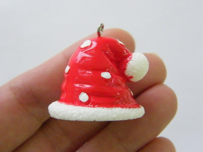 2 Father Christmas Santa hat pendant red white resin CT150