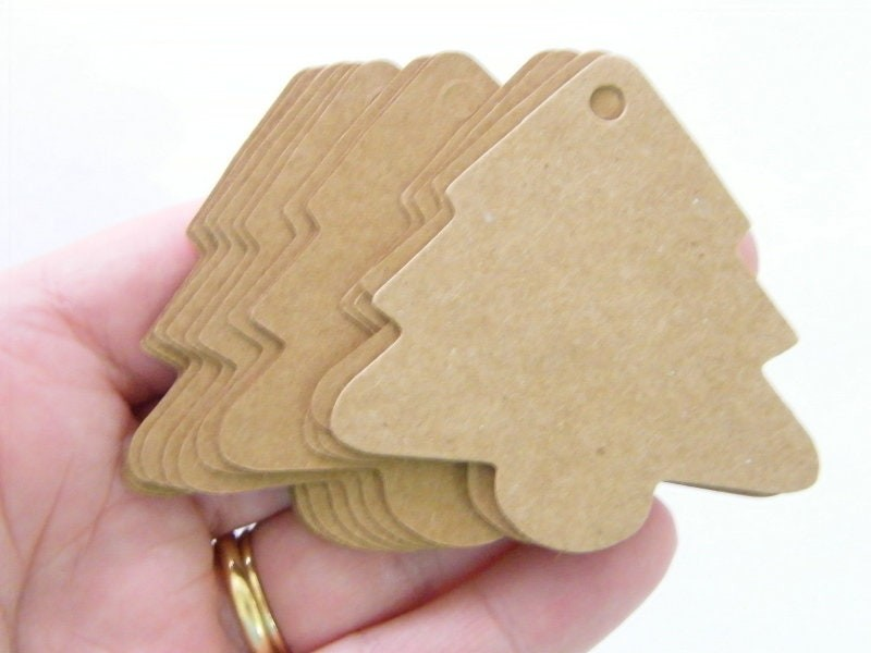 40 Christmas tree tags craft paper brown CT
