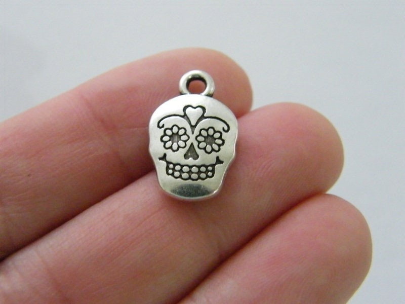 10 Skull charms antique silver tone HC291