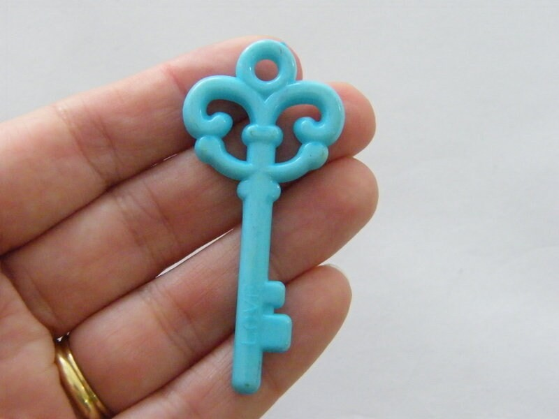 8 Blue acrylic plastic key pendants