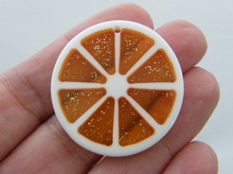 4 Orange slice pendants charms resin  FD425
