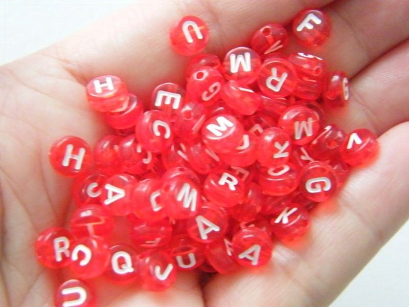 BULK 500 Red and white letter alphabet bead RANDOM mixed acrylic AB147