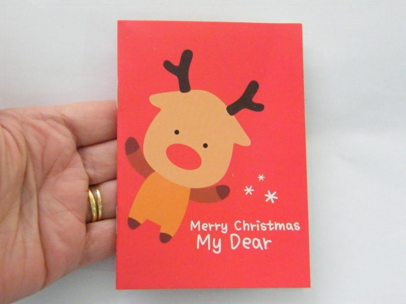 2 Red Merry Christmas My Dear reindeer mini note book 12 x 8.5cm