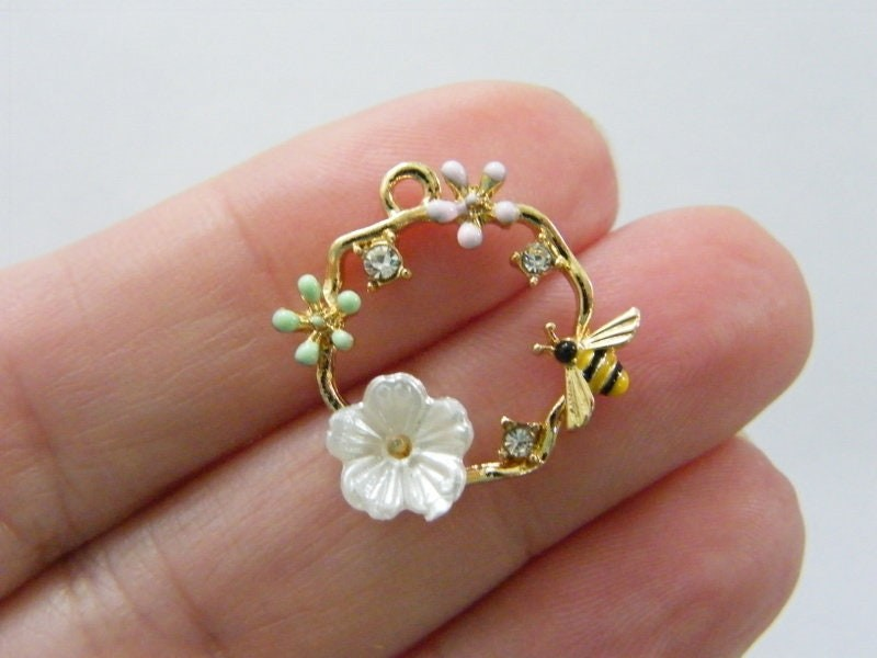 1 Bee and flower garland rhinestone charm gold tone A523