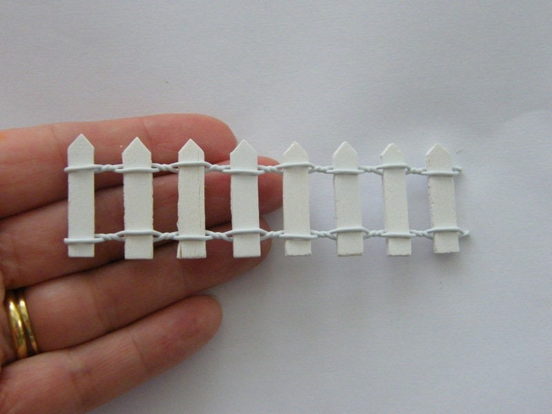 2 White picket fence embellishment wood P254