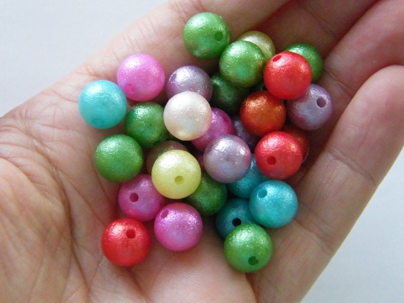 80 Pearlized beads random mixed 10mm acrylic AB454