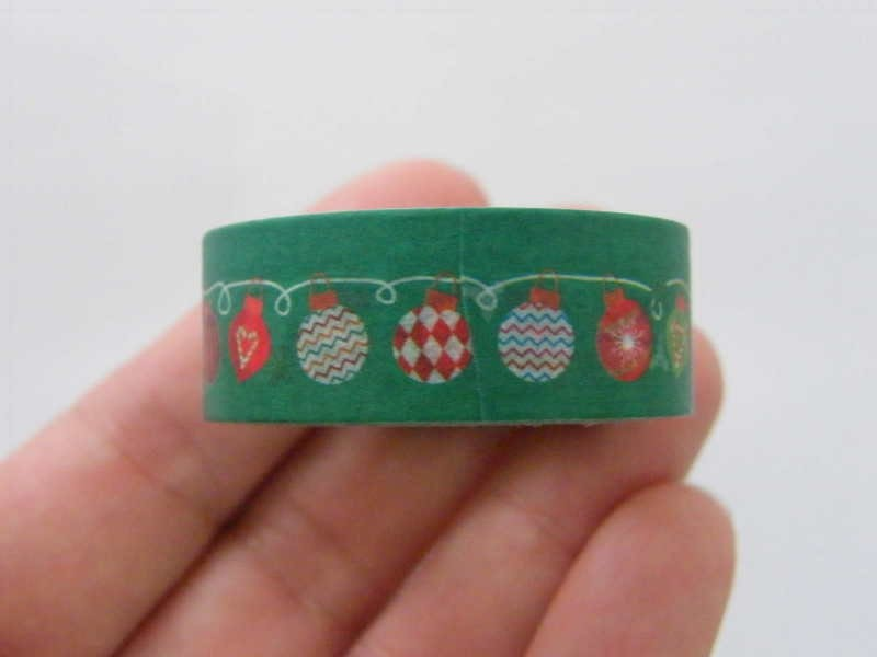 1 Christmas decorations bauble green washi tape ST1