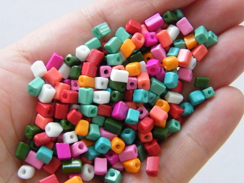400 Cube seed beads random mixed glass SB19