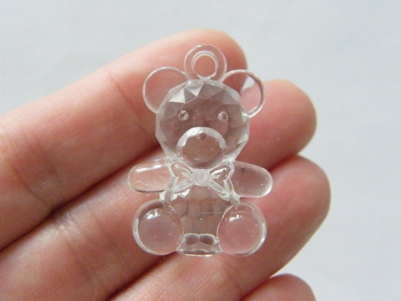 8 Teddy bear pendants faceted mixed acrylic P83
