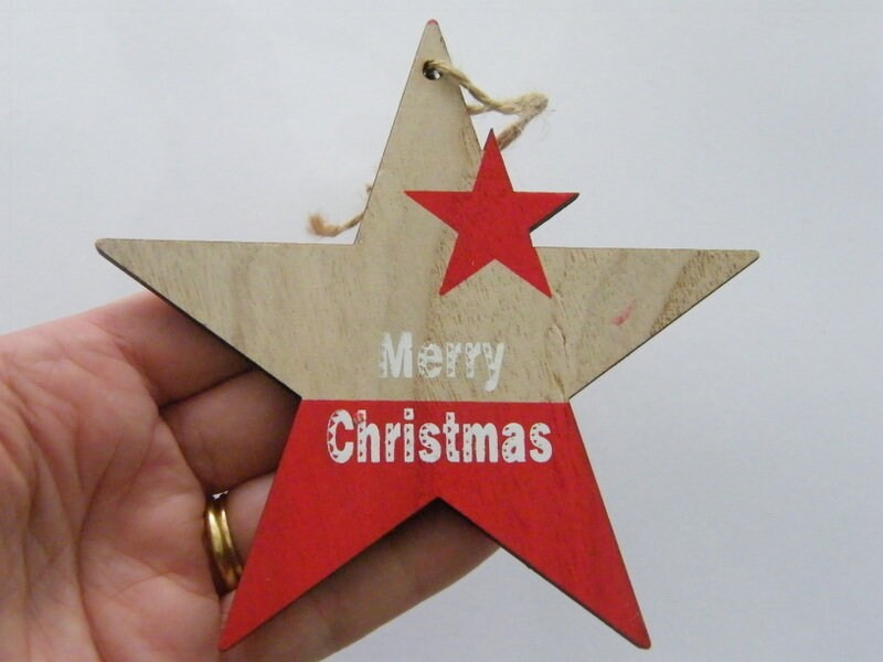 1 Star Merry Christmas red wood pendant CT