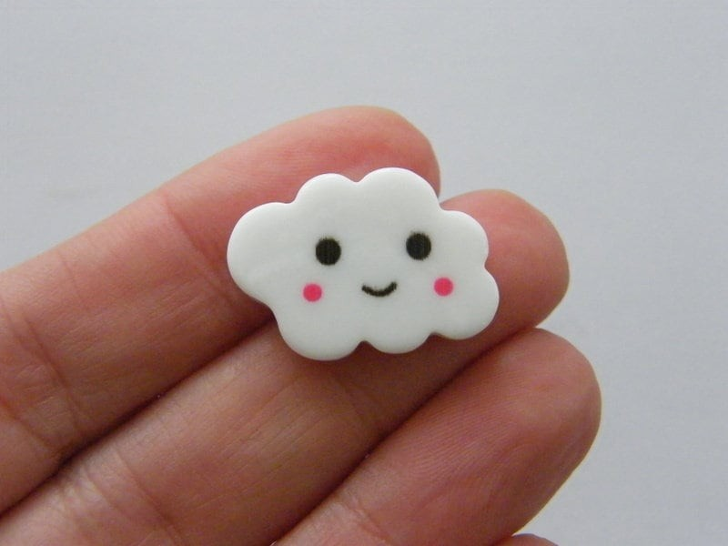 8 Cloud smiling face embellishments resin S173