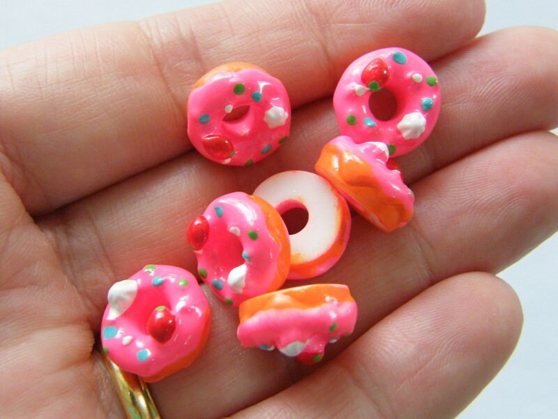 10 Pink iced donut embellishment cabochon resin FD497