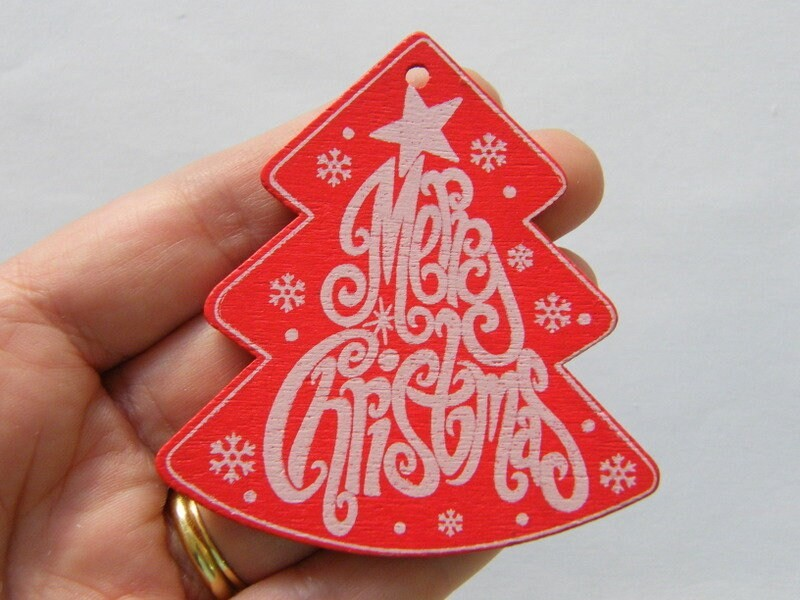 4 Merry Christmas red white pendants wood CT