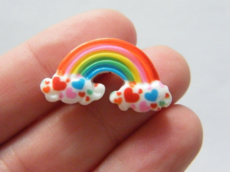 8 Rainbow cloud embellishment cabochon resin S212