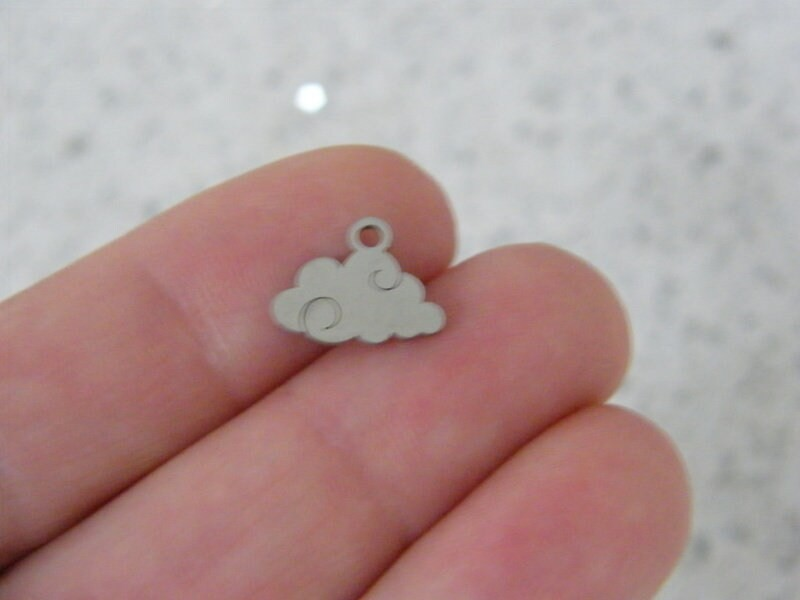 2 Cloud charms silver tone stainless steel S214