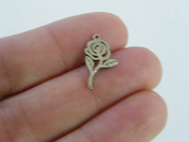 6 Rose flower charms stainless steel F376