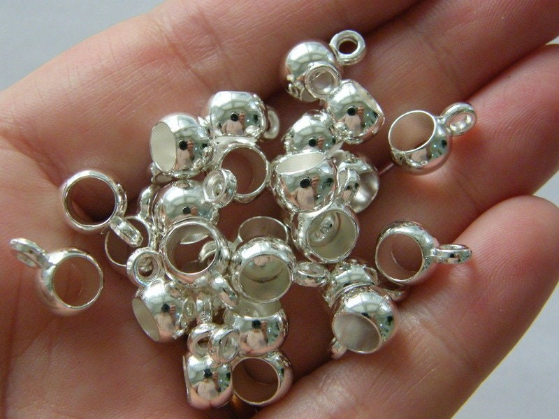 50 Acrylic plastic bails silver plated tone acrylic FS328