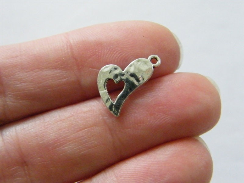 14 Heart charms antique silver tone H31