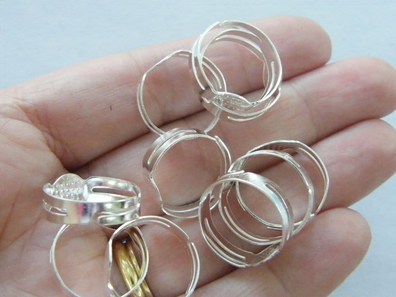 20 Silver plated glue on rings adjustable FS325