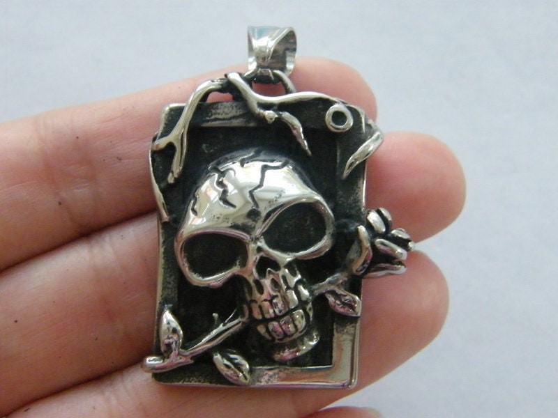 1 Skull rose pendant antique silver stainless steel HC323
