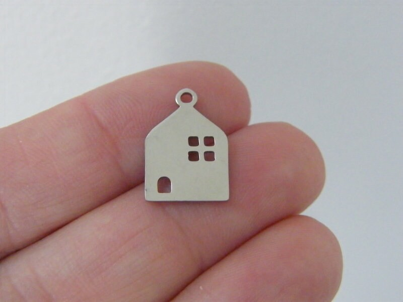 2 House charms silver tone stainless steel P282