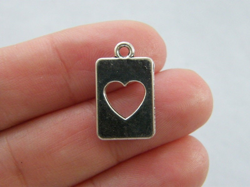 10 Heart cut out rectangle charms antique silver tone H167